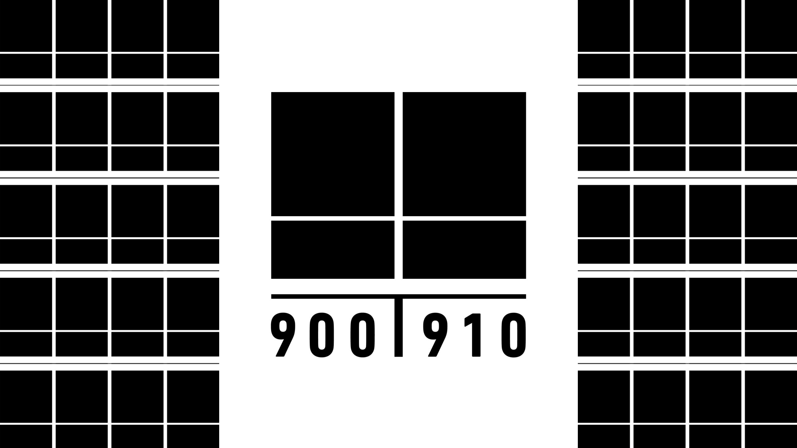 Graphic of the 900910 logo featuring abstract black boxes in a modernist way